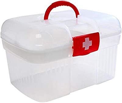 Vruta Medicine Box Portable Storage Box First Aid Kit Drugs Baby Medicine Chest with Handle & Removable Tray