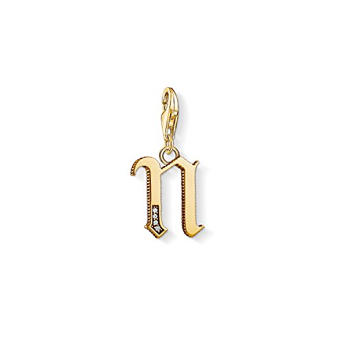 Thomas Sabo Damen-Charm-Anhänger M Buchstabe Gold Charm Club 925 Sterling Silber 1619-414-39