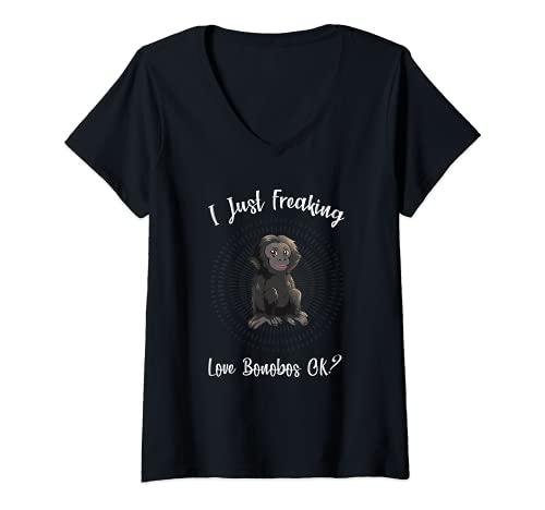 Donna I Just Freaking Love Bonobos Ok - Funny Bonobo Maglietta con Collo a V