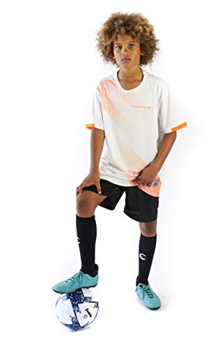 PAIRFORMANCE Set of Soccer Sleeve T Shirt Jersey and Shorts for Boys and Girls Sport Team Uniform & Training Indoor/Outdoor. 2 Pieces Clothing Age 6-12. White, L.   #S6-WL