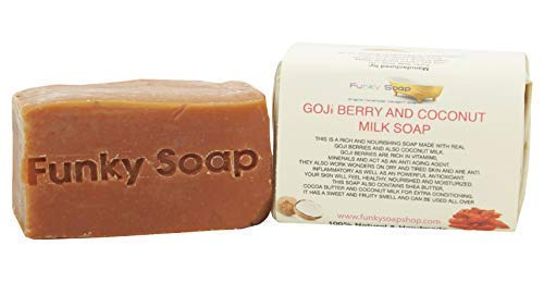 Funky Soap Baya de Goji & Leche de Coco Jabón 100% Natural Artesanal, 1 Barrita de 120g