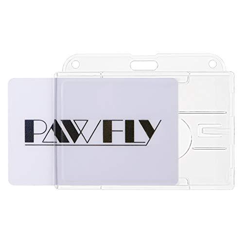 Uniclife paquete de 5 soportes horizontales para 2 tarjetas de identificación de policarbonato transparente protector de tarjeta de crédito con ranura para deslizar el pulgar