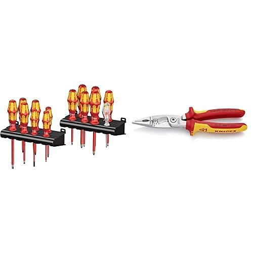 Wera 05105631001 Kraftform Big Pack 100 Vde- Juego De Destornilladores, Set 14 Piezas + Knipex Alicate Para Instalaciones Eléctricas Aislado 1000V (200 Mm) 13 86 200