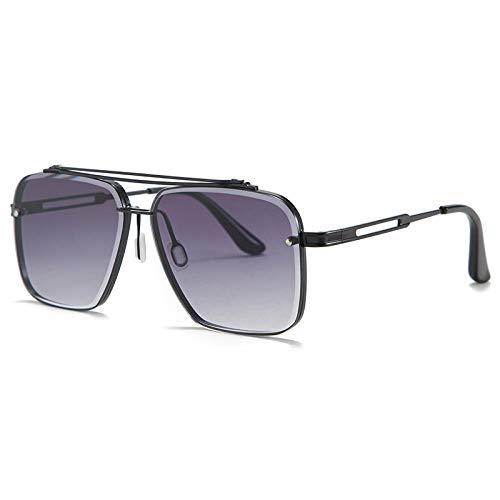 Gosunfly Gafas de sol de metal recortadas de doble haz de moda europea y americana para hombres-Marco negro gris degradado c1