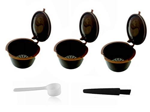 LIGICKY 3 Stück Kaffee Kapseln Nachfüllbare Wiederverwendbare i cafilas Kaffeekapsel-Filtertasse Kapsel für Dolce Gusto mit 1 Kaffeelöffel und 1 Bürste
