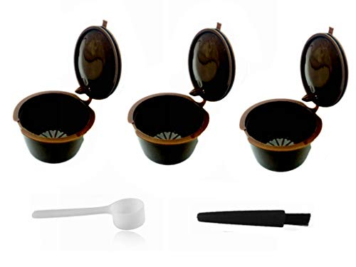 LIGICKY 3 Pcs Capsule per Caffè Riutilizzabili Capsule Dolce Gusto,Tazza Filtro per Macchina da Caffè con 1 Cucchiai in Plastica e 1 Pennelli
