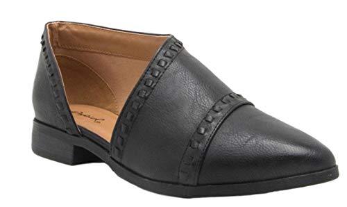 Qupid Women's Faux Leather Tuxedo Booties (8 M US, Black)