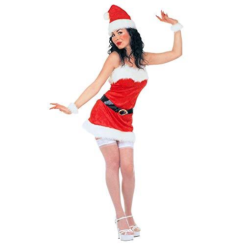 Widmann 15451 Miss Santa kostuum voor volwassenen van fluweel en pluche, jurk, riem, handschoenen, hoed Small veelkleurig