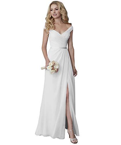 Yilis Off The Shoulder V-Neck Split Chiffon Wedding Dress Long Boho Bridal Gowns with Sash White US12