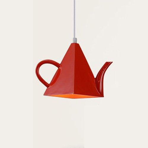 Modeen Teekanne LED Hängelicht Modern Metall Pendelleuchte Art Deco Licht Kreativ Eisen Kronleuchter Thema Restaurant Cafe Western Restaurant Zwei Farben 7.08 * 11.02 Zoll (Color : Red)