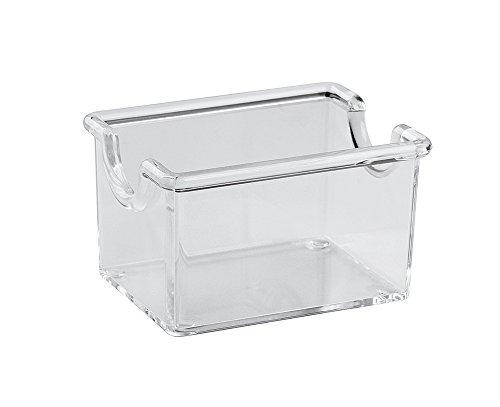 PADERNO Caja de Almacenaje para Sobres de Azúcar, Bolsas de Té e Infusiones, Organizador de Cocina Ideal para Mesas de Bar y Restaurante, Plástico Transparente, 8.5 x 6.5 cm
