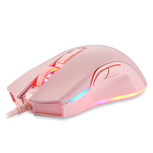 Mouse Gamer Motospeed V70 Essential, Chroma RGB, 7 Botões, 12.400DPI - Rosa
