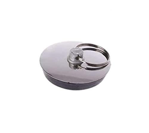 EUROXANTY Tapón de Fregadero | Desagüe | Universal | Con Cordón de Metal | Acero Inoxidable | Silicona de Alta Resistencia | Bañera | Lavabo | Cocina | (PACK 2 Ø5.5 CM)