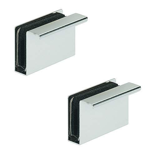 Gedotec Magnet-Druckverschluss Gegenstück mit Möbel-Griff zum Aufklemmen | Gegenplatte für Glasdicke 4-6 mm | Stahl verchromt poliert | 2 Stück - Magnet-Platte mit Ziehgriff für Glastüren & Vitrinen