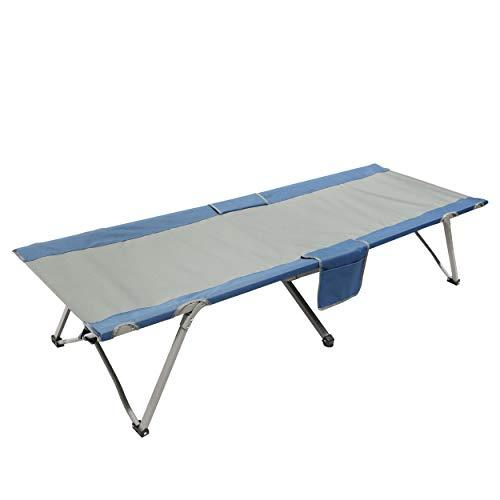 Homecall - Cama de camping plegable con bolsillo lateral (gris/azul)