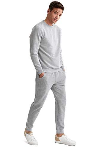 DeFacto Pijama de punto para hombre de ajuste ajustado con parte inferior y pantalones para hombre Gris M