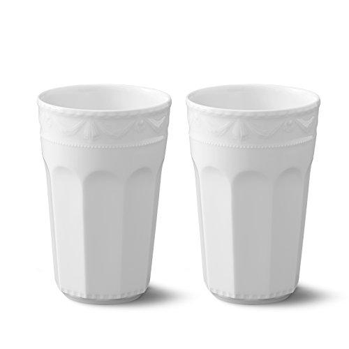 KPM Berlin KURLAND Becher-Set Porzellan Porzellanbecher-Set - Latte-Becher - Kaffee-Becher - Tee-Becher - die perfekten Becher für jeden Anlass - Weiß - Größe 3 0.48 L