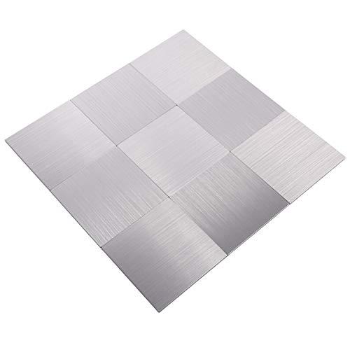 Mosaik Fliese Matte selbstklebend Aluminium Metallfliesen für WAND BAD WC KÜCHE THEKENVERKLEIDUNG BADEWANNENVERKLEIDUNG Mosaikplatte Sliber #69