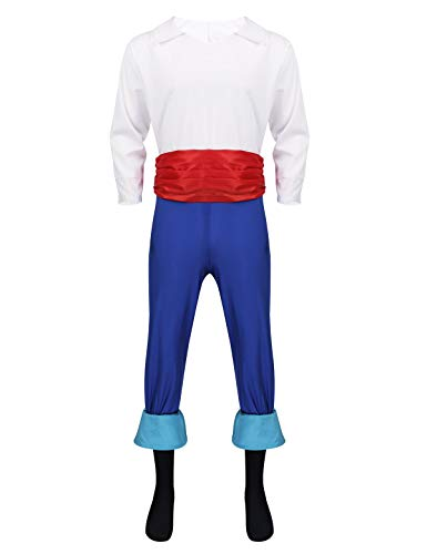 YiZYiF Disfraz Príncipe Eric Hombres Chicos Traje Halloween Disfraces Árabe Príncipe Aladino Cosplay Adulto Fancy Prince Despedida Fiesta Carnaval Blanco y Azul XL