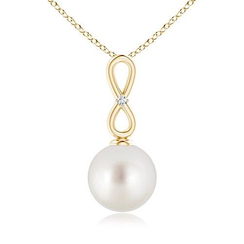 Collar con colgante de perla cultivada en el mar del Sur con lazo infinito de piedra natal de junio para mujer con diamante pequeño