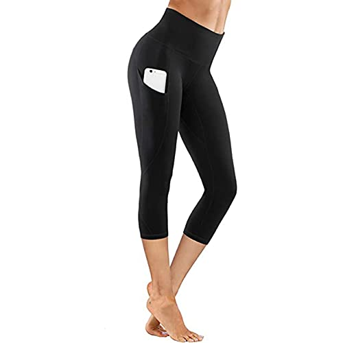 Rouped Mayas Deportivas Mujer,Leggins Push Up Mujer Pantalones 3/4 con Bolsillos Yoga,Leggins adelgazantes Mujer,Mujer Yoga Leggins de Deporte para Yoga,Mallas Running Mujer,RDL411