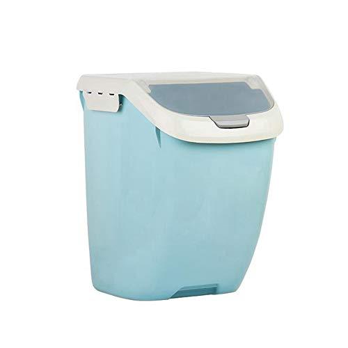 Tuneway Caja de almacenamiento de arroz sellada a prueba de humedad de gran capacidad, contenedor de harina de grano, caja de almacenamiento para arroz, de 15 kg, color azul