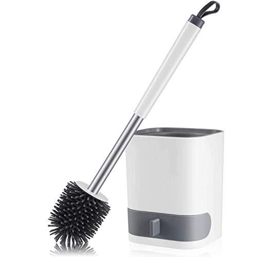GULICA トイレブラシとホルダー、速乾性ホルダー付きシリコーントイレクリーニングブラシ、4 x 5.5インチ、白黒、(床/取り付け壁)