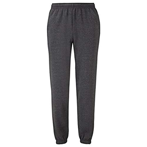 Fruit of the Loom Classic Elasticated Cuff Jog Pants Herren Jogginghose, Farbe:dunkelgrau meliert, Größe:2XL