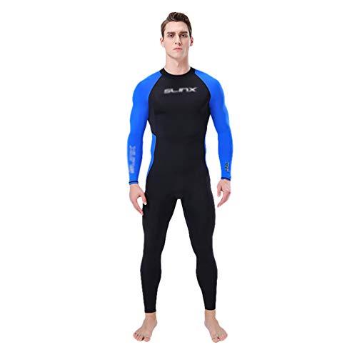 Wenchuang Nassanzüge Herren Schnelltrocknend Taucheranzug Langarm UV Schützend Schwimmanzug Surfsuit mit Reißverschluss Hinten (Blau, 3XL)