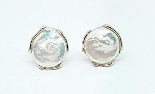 Pendientes de plata 925 con perla auténtica plana redonda de 20 mm, borde liso – Cierre Omega – 13 gramos (GCO0010)