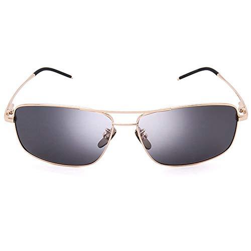 Bradoner Gafas De Sol UV400 Doradas Negras Gafas De Sol De Aleación De Titanio Polarizada Gafas De Sol Adultas (Color : Gold)