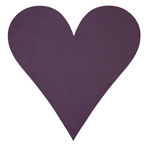 Glazen onderzetter hart (13x13cm) nupo leer - LindDNA, kleur: Plum