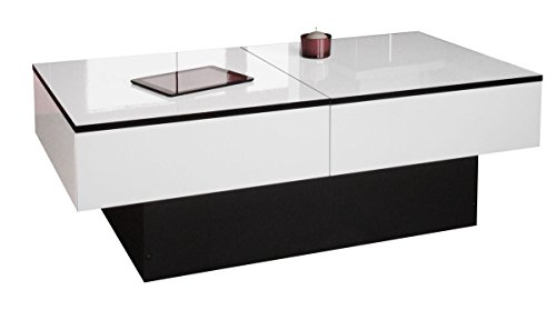 Berlioz Creations Amelie Table Basse, Blanc Brillant/Noir, 113 x 60 x 40 cm, Fabrication 100% Française
