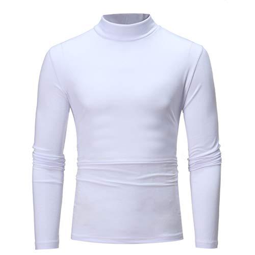 Herren Langarmshirt Basic Slim Fit Rollkragen Klassik Einfarbig Freizeit Sport Hemd T-Shirt Leichtes Atmungsaktives Sweatshirt Casual Fitness Jogging Top M