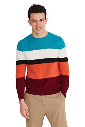 State Cashmere Men's Cotton Cashmere Round Crew Neck Pullover Sweater