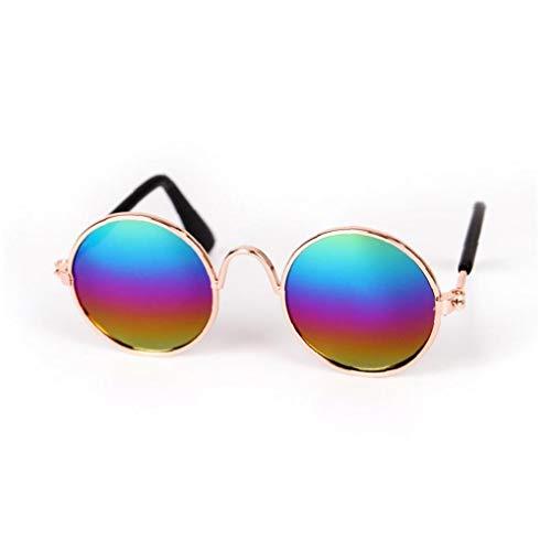 TOPofly Pet Gafas de Sol clásicas Gafas de Sol Retro Circulares metálicas para Gato, Chihuahua o Perros pequeños (Multicolor) 1 PC para Mascotas
