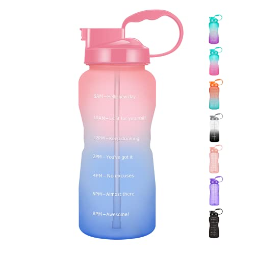 Podocarpus Half Gallon/64oz Motivational Time Marker Water Bottle with Straw, Leakproof Tritan BPA Free Water Jug with Handle, Large Capacity Water Bottle for Fitness Gym Camping Outdoor Sports