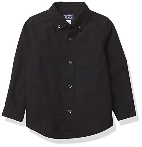 The Children's Place Boys' Toddler Uniform Oxford Button Down Shirt, Black, 18-24 Months