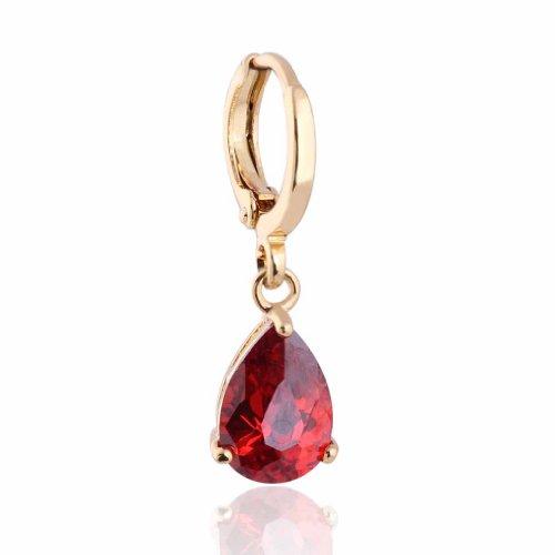 Yazilind Oro Smooth Encanto plateó los pendientes de gota Circonita cuelgan estilo del embutido Teardrop simple para la Mujer
