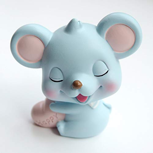 Cartoon Mouse Poses A Shake-up Doll Car Inside Jewelry Zodiac Mouse Creative Cute Desktop Decoration Gift Blue Happy Mouse