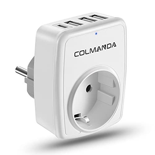 Colmanda Enchufe USB Pared 5 en 1, Enchufe USB Multiple con 1Type C USB + 3 Puertos USB, Ladron Enchufe Multiple Compatible, Cargador USB de Pared para Familia, Officio e Viaje