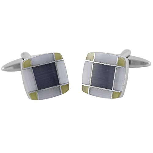 Lindenmann Cufflinks/Cuff Buttons, Silvery with Cats-Eye, Gift Box, 10403