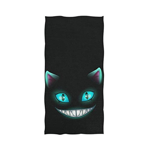 "Naanle Cute Cheshire Cat Print Funny Soft Bath Towel Large Hand Towels Multipurpose for Bathroom, Hotel, Gym and Spa (16"" x 30"",Blue Black)"
