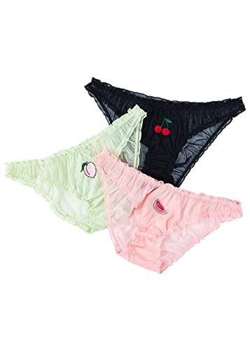 HAIBI Damen Unterhosen Panties 3Er Pack Damen Sexy Lace Panties Temptation Slips Mit Niedriger Taille Weibliche Transparente Fruchtstickerei Süße Mädchen Unterwäsche, 3 Stück Schwarz, M.