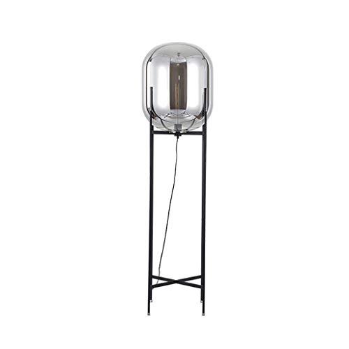 KOSGK Moderne Stehlampen Wohnzimmer Schlafzimmer mit Glas Lampenschirm Eisen Regal Moderne vertikale Stehleuchte Fackel Laterne Design Leuchte Beleuchtung (Farbe Blau-D * H 48 160cm)
