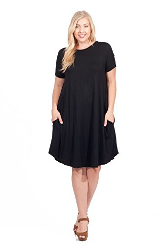Hot Ginger Woman's Plus Size Short SleeveSwing Dress with Pockets, 2X, Black
