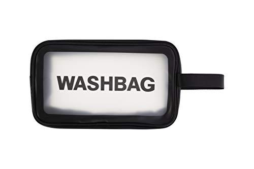 Bolsa de Aseo Transparente PVC Impermeable con Cremallera. Neceser de cosméticos y Organizador para Viajes. Almacenamiento de baño. Tres tamaños y Tres Colores - Blanco, Negro y Rosa (Negro, M