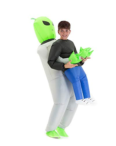 Hsctek Inflatable Alien Costume Kids Boys Girls, Inflatable Blow Up Alien Abduction Costume Child, Inflatable Alien Carrying Me Holding Man Halloween Costume Children