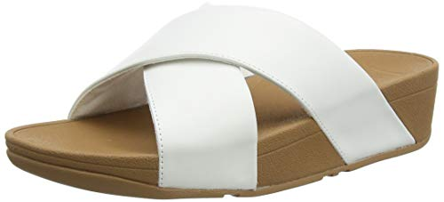FitFlop Lulu Cross Slide Sandals-Leather, Sandalias de Punta Descubierta Mujer, White (Urban White 194), 41 EU