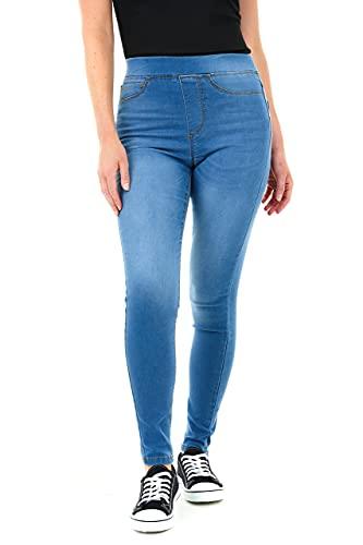 M17 Damen 5056242803553 Jeans Jeggings Skinny Fit Klassische lässige Baumwollhose Hose mit Taschen (14, Mid Wash Blue)